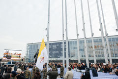 Vatican Flag Hoisted in European Parliament during Pope Visit. STRASBOURG, FRANCE - NOVEMBER 25, 2014: Vatican is hoisted next to the EU countries member flags Royalty Free Stock Photo
