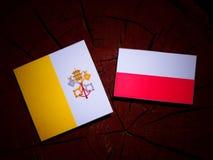Vatican flag with Polish flag on a tree stump isolated. Vatican flag with Polish flag on a tree stump royalty free illustration