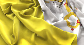 Vatican Flag Ruffled Beautifully Waving Macro Close-Up Shot. Studio Stock Photo