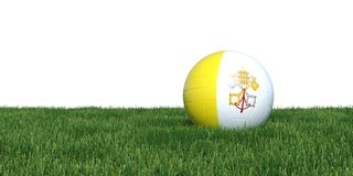 Vatican soccer ball lying in grass world cup 2018. Vatican flag soccer ball lying in grass world cup 2018, isolated on white background. 3D Rendering Royalty Free Stock Images