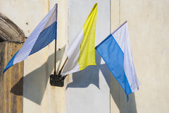 Vatican flag in the wind. Stock Images