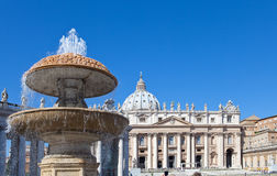 Vatican. A fountain before St. Peter's Cathedral Stock Photo