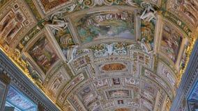 Vatican frescoes. VATICAN - February 19, 2015: Th. E ceiling in the corridor, Vatican Museum, Rome, Italy. Video. UltraHD (4K