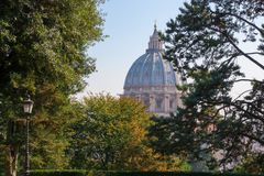 VATICAN GARDENS AND SAINT PETER CATHERDAL Royalty Free Stock Images