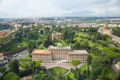 The Vatican gardens. The  view to the Vatican Gardenc from the St Peter Cathedral, Rome, Italy Royalty Free Stock Photography
