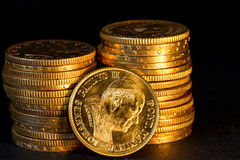 Vatican  gold coins. John Paul 2sn Pope Gold coins treasure Royalty Free Stock Photography
