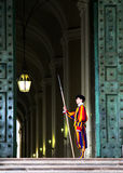 The Vatican guard. A Vatican guard stand on the door royalty free stock photography
