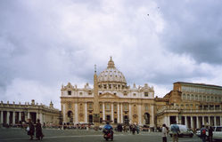 Vatican - Italy. Clouds over St Peter of Rome, Italy - Piazza San Pietro (Visible film grain - scan picture stock photo