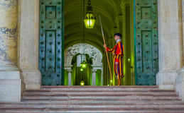 VATICAN, ITALY - JUNE 13, 2015: Famous Swiss guard on Vatican church. Papal guard standing at the door of Vatican Museum Stock Images