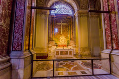 VATICAN, ITALY - JUNE 13, 2015: La Pieta from Michelangelo inside St. Peter Basilica, great sculture that shows Mary Royalty Free Stock Photos