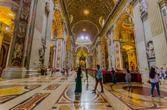 VATICAN, ITALY - JUNE 13, 2015: Main hall entrance and view of Saint Peter Basilica at Vaticano, gold covered Stock Photo