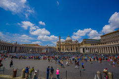 VATICAN, ITALY - JUNE 13, 2015: Saint Peter Basilica in Vatican, view from a tourists bus, square outside with obelisk Royalty Free Stock Photography