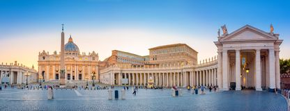 Vatican. Italy. Panorama of St. Peter`s Square at sunset royalty free stock photos
