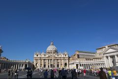 Vatican, ITALY - SEPTEMBER 6, 2016. Facade of St. Peter`s Square Stock Photos