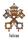 Vatican keys symbol coat of arms vector icon Royalty Free Stock Photography