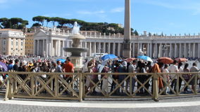 Vatican line. VATICAN CITY, VATICAN STATE - AUGUST 18, 2015: People waiting in the line at the entrance to St. Peter basilica stock video footage