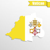 Vatican map with flag inside and ribbon Royalty Free Stock Image