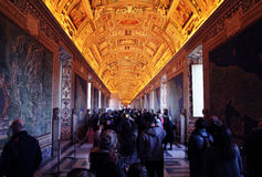 Vatican maps room. The famous maps romm inside the vaticans museums at rome royalty free stock photo