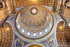 Painted cupola of the Saint Peter`s basilica dome Stock Image