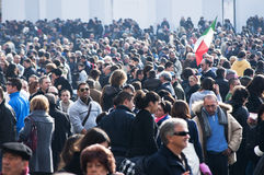 Vatican mass. Crowds gather inside Vatican City, Rome, Italy for the mass Royalty Free Stock Images