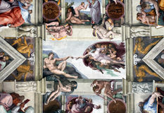 VATICAN - MAY 30, 2014: the Sistine Chapel ceiling, painted by M Royalty Free Stock Photos