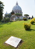 The Vatican meridian and Saint Peter's Basilica in Vatican gardens - Primo meridiano Royalty Free Stock Photography