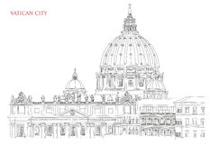 Vatican minimal  illustration on white background Royalty Free Stock Images