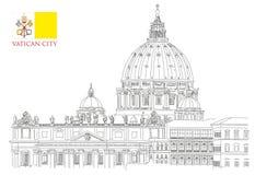 Vatican minimal vector illustration on white background Royalty Free Stock Photo