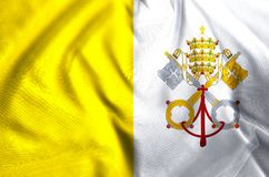 Vatican flag illustration. Vatican waving and closeup flag illustration. Usable for background and texture stock illustration