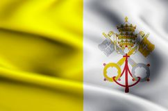 Vatican flag illustration. Vatican waving and closeup flag illustration. Usable for background and texture vector illustration