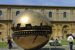 Vatican museum with ball sculpture stock photography