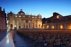 Vatican Museum in Basilica of St. Peter and chairs Royalty Free Stock Photo