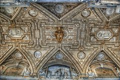 The Vatican Museum. The ceiling in the Geographic gallery of the Vatican Museums. Visitors at the Vatican Museums in Rome Italy.Its includes some of most Royalty Free Stock Photo