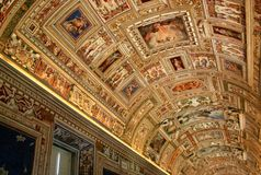 Vatican Museum Hallway Ceiling Royalty Free Stock Photo