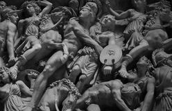 Vatican Museum Relief Sculpture. A relief sculpture at the Vatican Museum in black and white Royalty Free Stock Photo