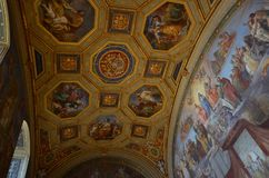 Vatican Museums, dome, chapel, ceiling, wall. Vatican Museums is dome, wall and byzantine architecture. That marvel has chapel, ancient history and basilica and Stock Image
