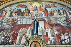 Vatican Museums fresco - Immaculate Conception. Room of the Immaculate Conception, frescoes by Podesti, in Vatican Museums Stock Photos