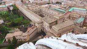 The Vatican Museums in Rome - wonderful aerial shot from Saint Peters. Videoclip stock footage