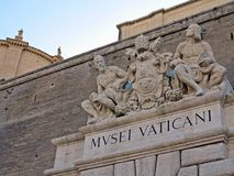 Vatican Museums. Statues above the entrance to the Vatican Museum Royalty Free Stock Photo
