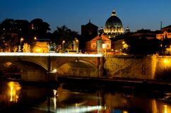 Vatican at Night. The Vatican in Rome, Italy at night. With The river Tiber, Tevere, in the foreground Stock Image