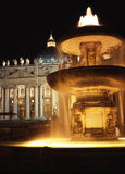 Vatican at Night. This is a slow-shutter-speed shot of the fountain at the Basilica of St. Peter, at night royalty free stock images