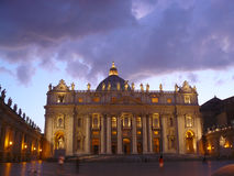 St. Peter church in Vatican. Night view of St. Peter church in Vatican Royalty Free Stock Image