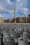 Vatican Obelisk Crowd Chairs Cityscape Rome Italy Stock Photo