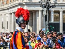 Papal Swiss Guard in uniform. Vatican - Oct 14, 2018. Papal Swiss Guard in uniform at Saint Peter Square. Swiss soldiers are a symbol of attraction in Vatican royalty free stock images