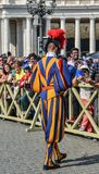 Papal Swiss Guard in uniform. Vatican - Oct 14, 2018. Papal Swiss Guard in uniform at Saint Peter Square. Swiss soldiers are a symbol of attraction in Vatican royalty free stock photos