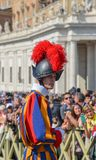 Papal Swiss Guard in uniform. Vatican - Oct 14, 2018. Papal Swiss Guard in uniform at Saint Peter Square. Swiss soldiers are a symbol of attraction in Vatican stock photography