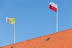 Vatican and Polish flag Stock Images