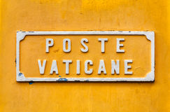 Vatican post box yellow sign. Stock Image