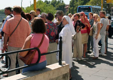 Vatican. The queue at a bus stop in the Vatican royalty free stock photography