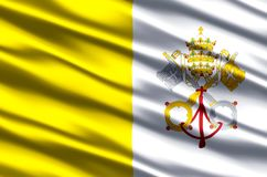 Vatican realistic flag illustration. Usable for Background and Texture royalty free illustration